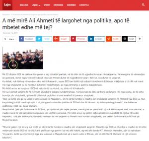 Artikulli origjinal: A më mirë Ali Ahmeti të largohet nga politika, apo të mbetet edhe më tej?