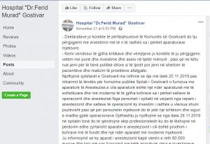 """Reagimi i Spitalit të Gostivarit në """"Fejsbuk"""""""